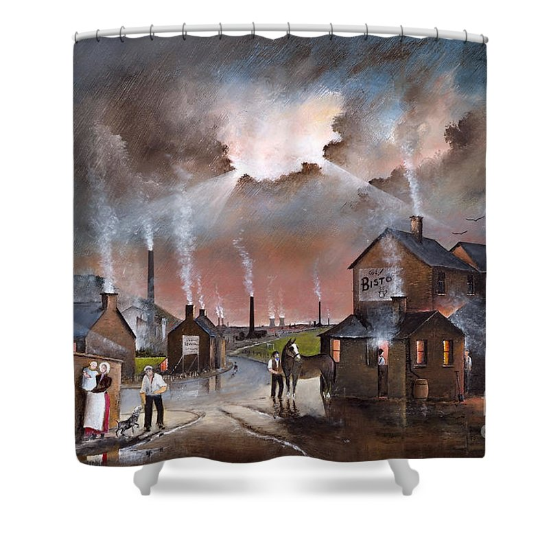 England Shower Curtain featuring the painting Just A Swift Half by Ken Wood