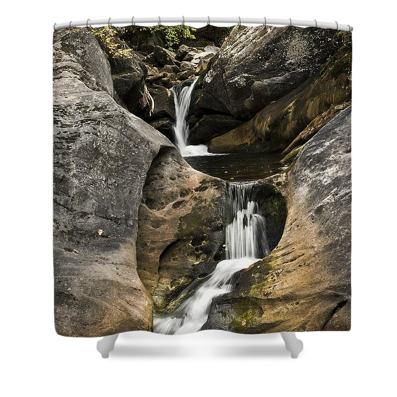 Water Waterfall Autumn Nature Rocks Trees Brown Green White Shower Curtain featuring the photograph Kent Falls by Diane Hawkins