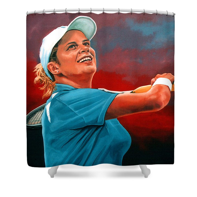 Paul Meijering Shower Curtain featuring the painting Kim Clijsters by Paul Meijering