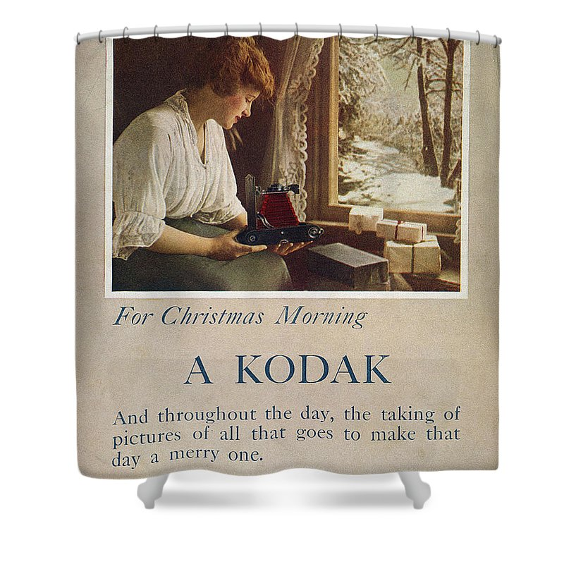 1914 Shower Curtain featuring the painting Kodak Advertisement, 1914 by Granger