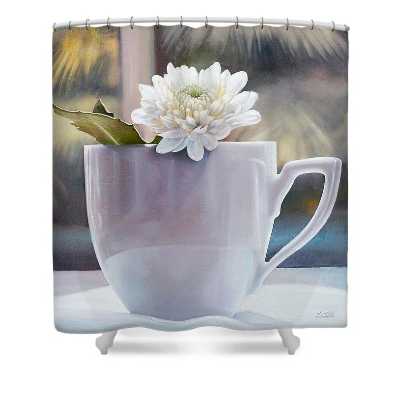 Still Life Shower Curtain featuring the painting La Grande Tazza by Danka Weitzen