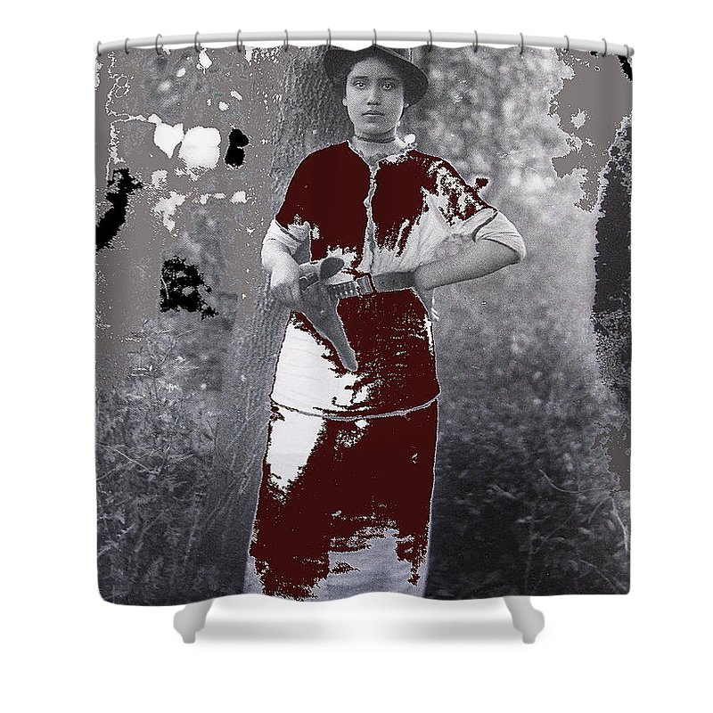 Lady Soldier Unknown Mexico Location 1905-1910 Shower Curtain featuring the photograph Lady Soldier Unknown Mexico Location 1905-1910-2014 by David Lee Guss