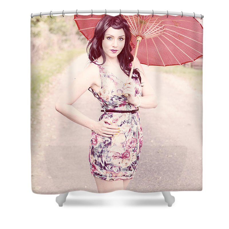 Bright Shower Curtain featuring the photograph Lady With Red Parasol by Jorgo Photography - Wall Art Gallery