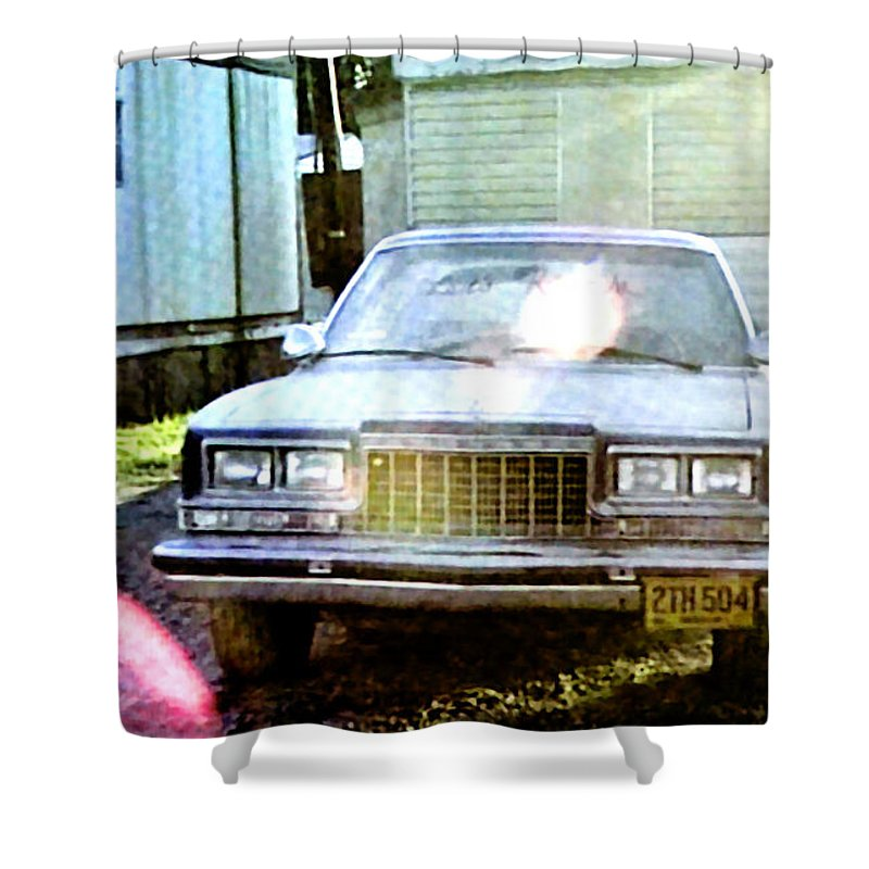 Laura Palmer Shower Curtain featuring the painting Lets Rock by Luis Ludzska