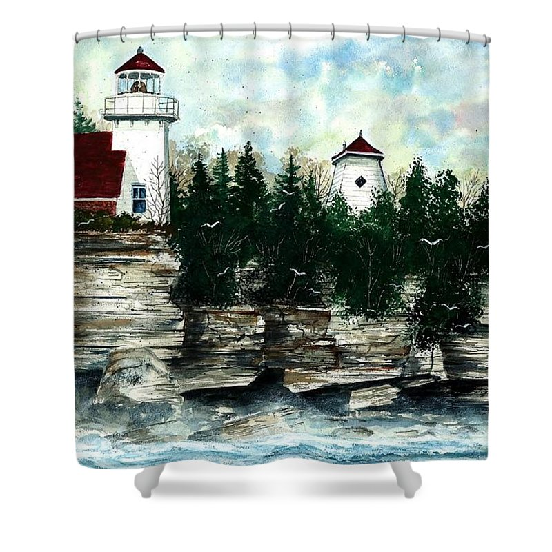 Lighthouse Shower Curtain featuring the painting Lighthouse Cliff by Steven Schultz