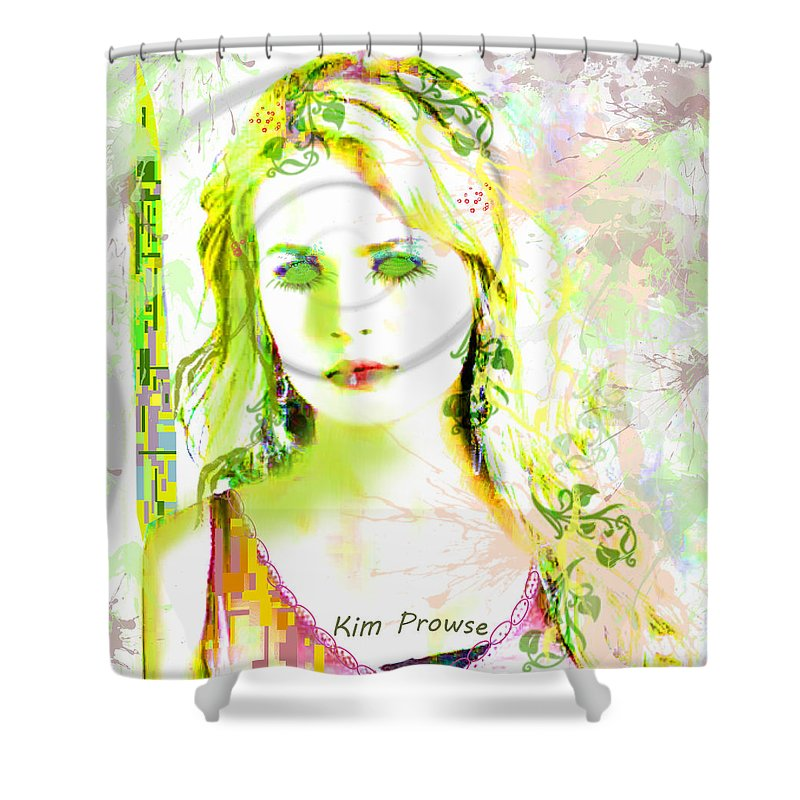 Portrait Shower Curtain featuring the digital art Lily Lime by Kim Prowse