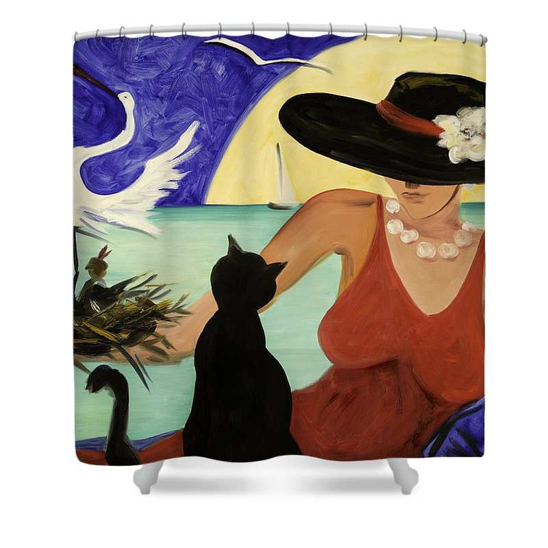 Colorful Art Shower Curtain featuring the painting Living The Dream by Gina De Gorna