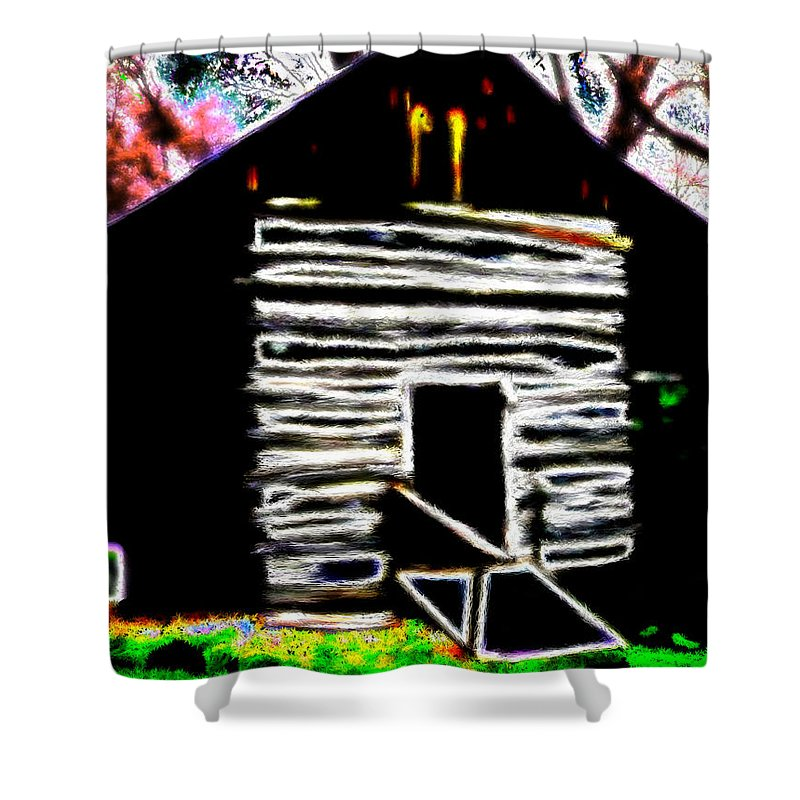 Wood Shower Curtain featuring the painting Log Cabin Home by Bruce Nutting