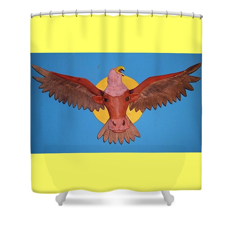 Eagle Shower Curtain featuring the sculpture Longhorn Eagle by Michael Pasko