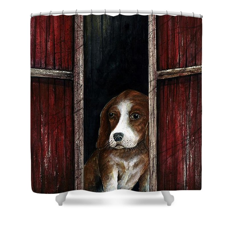 Dog Puppy Shower Curtain featuring the painting Looking Out by Steven Schultz