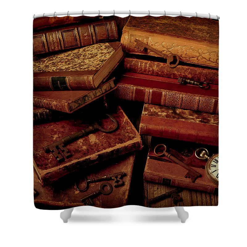 Key Shower Curtain featuring the photograph Love Old Books 1 by Garry Gay
