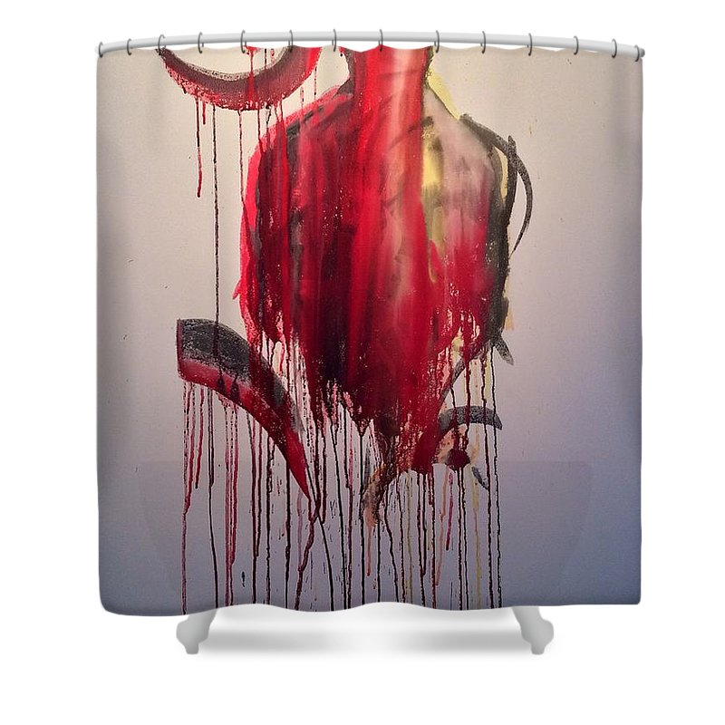 Ohm Shower Curtain featuring the painting 1 by Lowkey Luciano