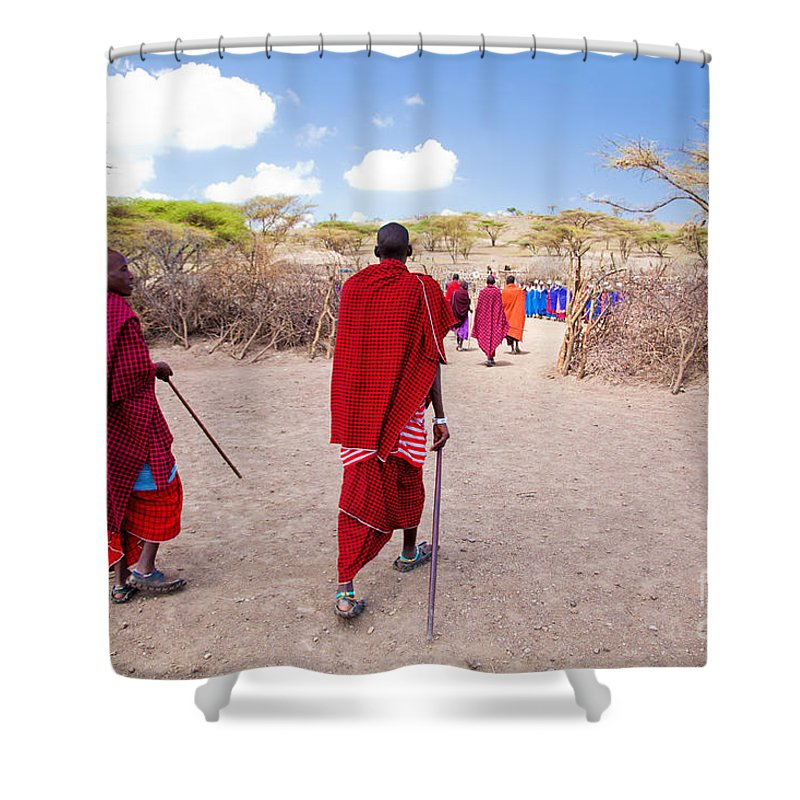 Maasai Shower Curtain featuring the photograph Maasai People And Their Village In Tanzania by Michal Bednarek