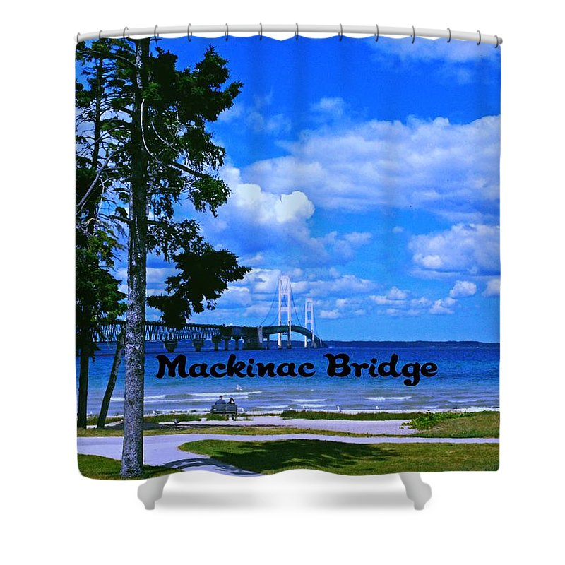 Michigan Shower Curtain featuring the photograph Mackinac Bridge by Gary Wonning