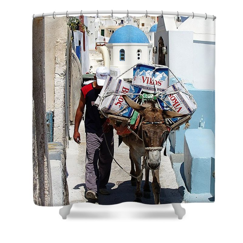 Santorini Shower Curtain featuring the photograph Man And His Pack Mule by Jenny Hudson