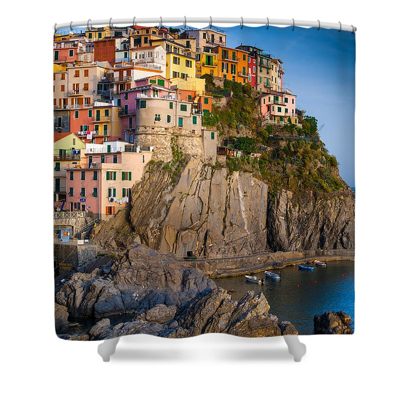 Cinque Terre Shower Curtain featuring the photograph Manarola Afternoon by Inge Johnsson