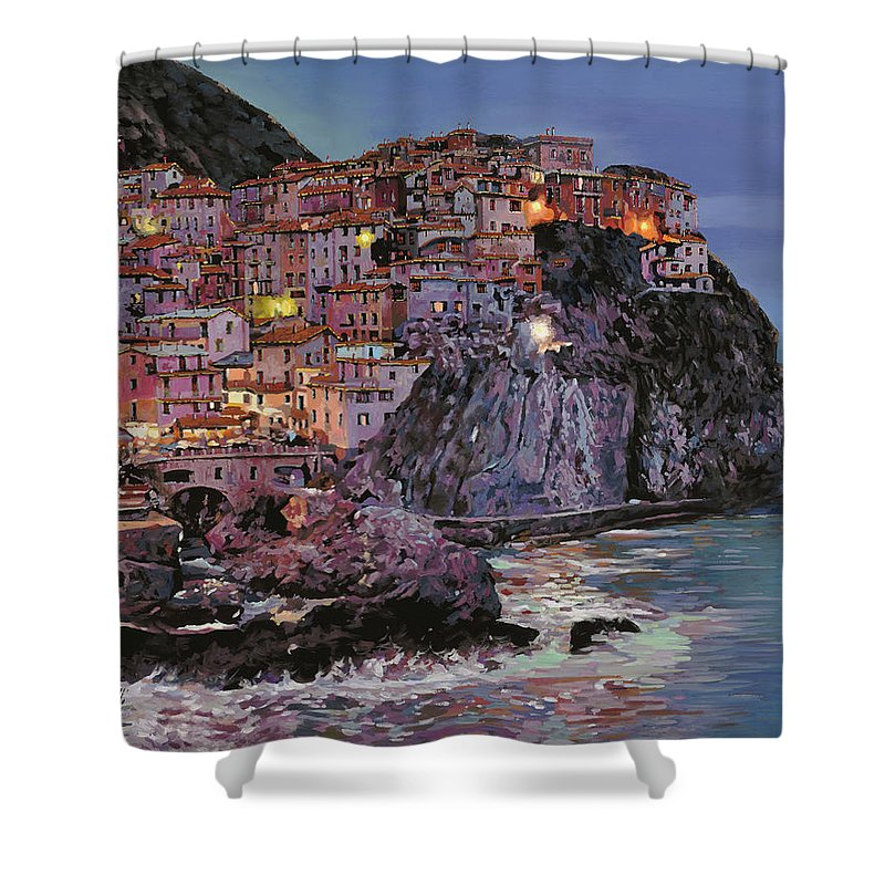 Manarola Shower Curtain featuring the painting Manarola At Dusk by Guido Borelli