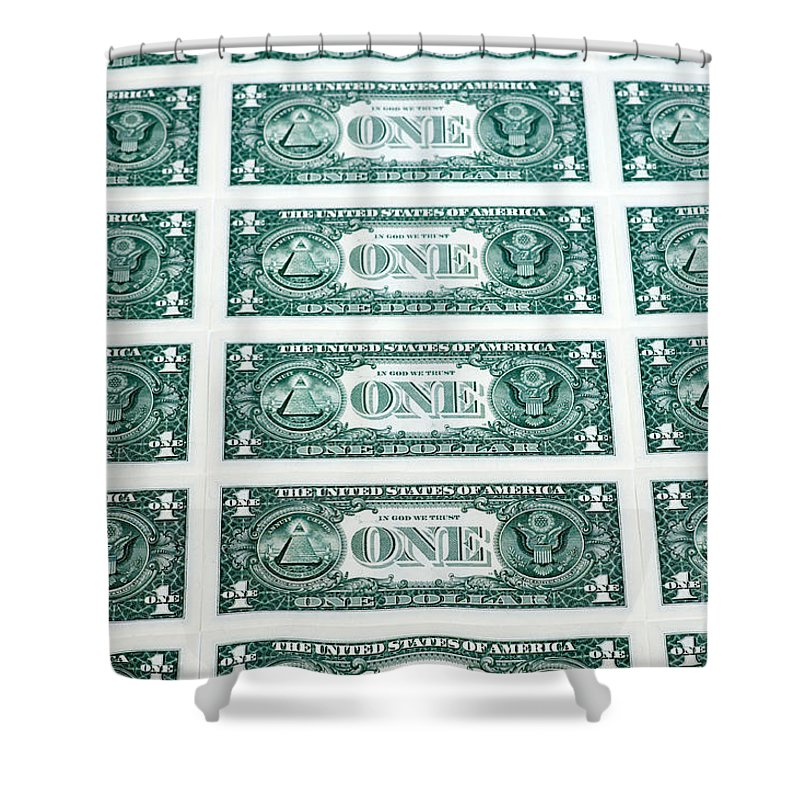 Dollars Shower Curtain featuring the photograph Many One Dollar Bills Side By Side by Lee Avison