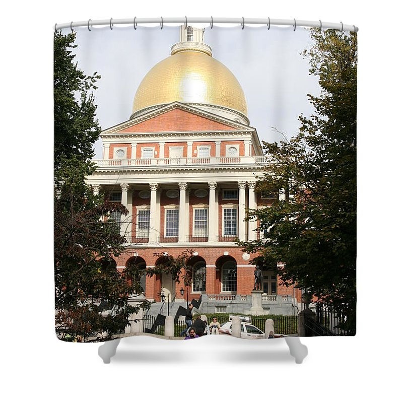 Boston Shower Curtain featuring the photograph Massachusetts State House - Boston by Christiane Schulze Art And Photography