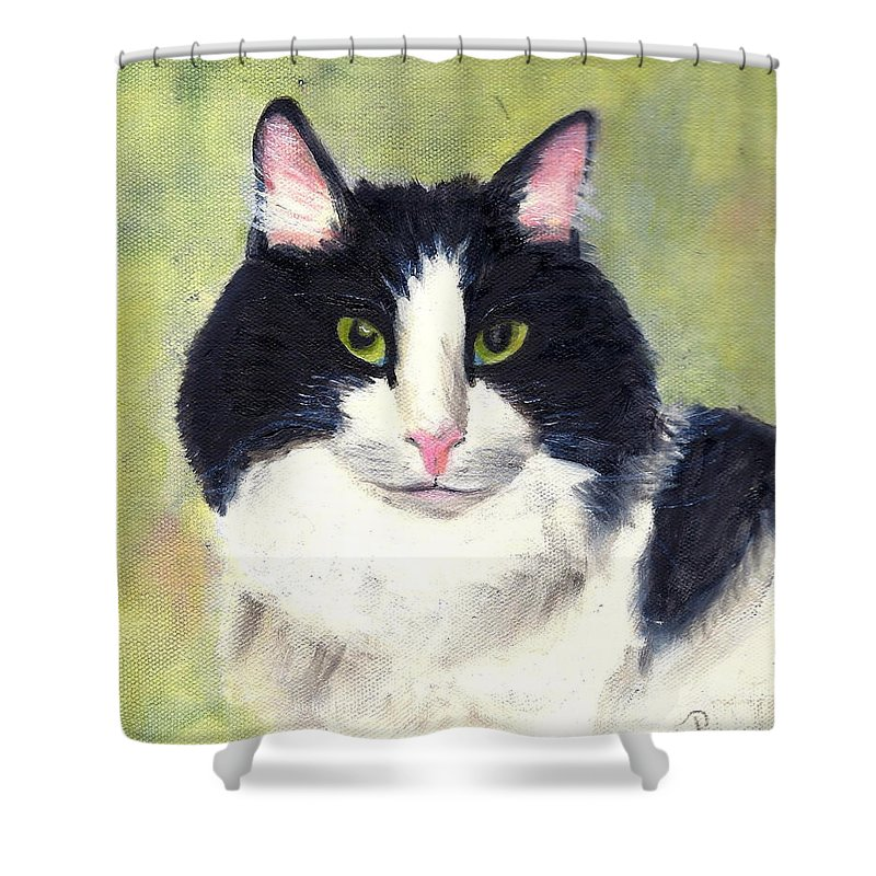 Animal Portrait Shower Curtain featuring the painting Matthew by Paula Emery