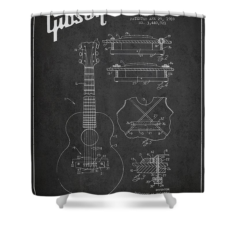 Gibson Shower Curtain featuring the digital art Mccarty Gibson Stringed Instrument Patent Drawing From 1969 - Dark by Aged Pixel