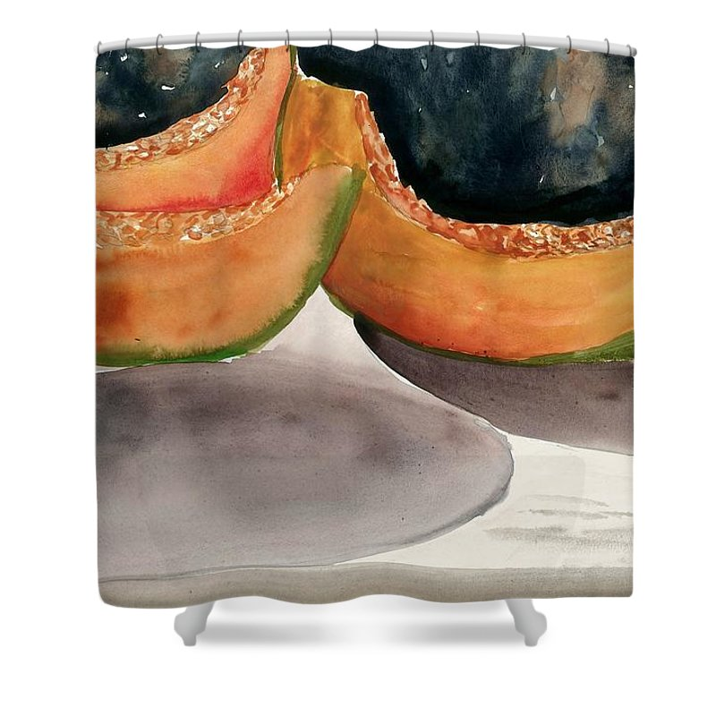 Melons Shower Curtain featuring the painting Melons by Steven Schultz