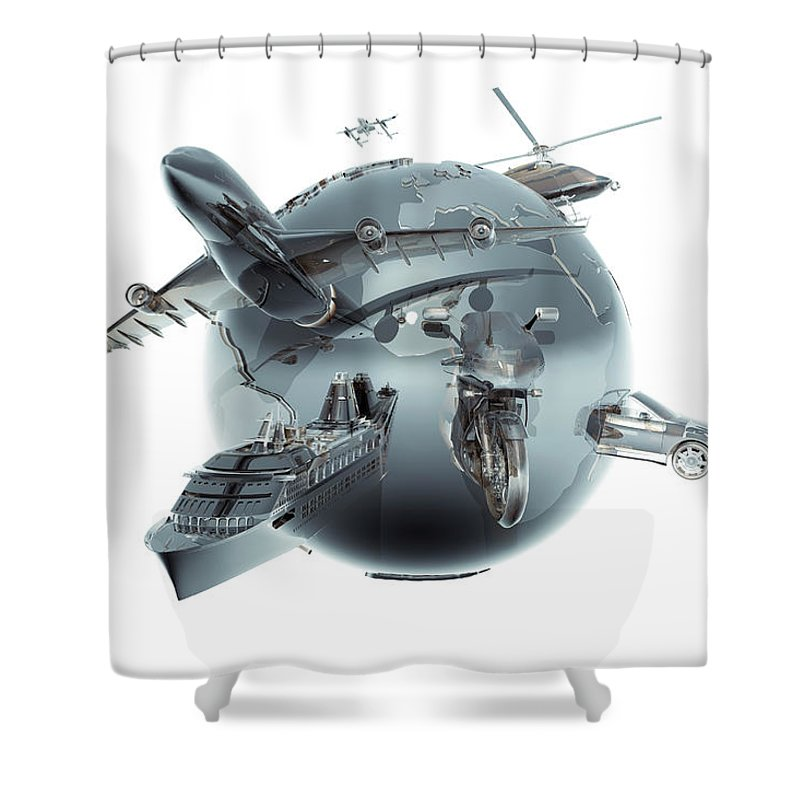Artificial Shower Curtain featuring the photograph Metallic Globe With Different Forms Of by Coneyl Jay