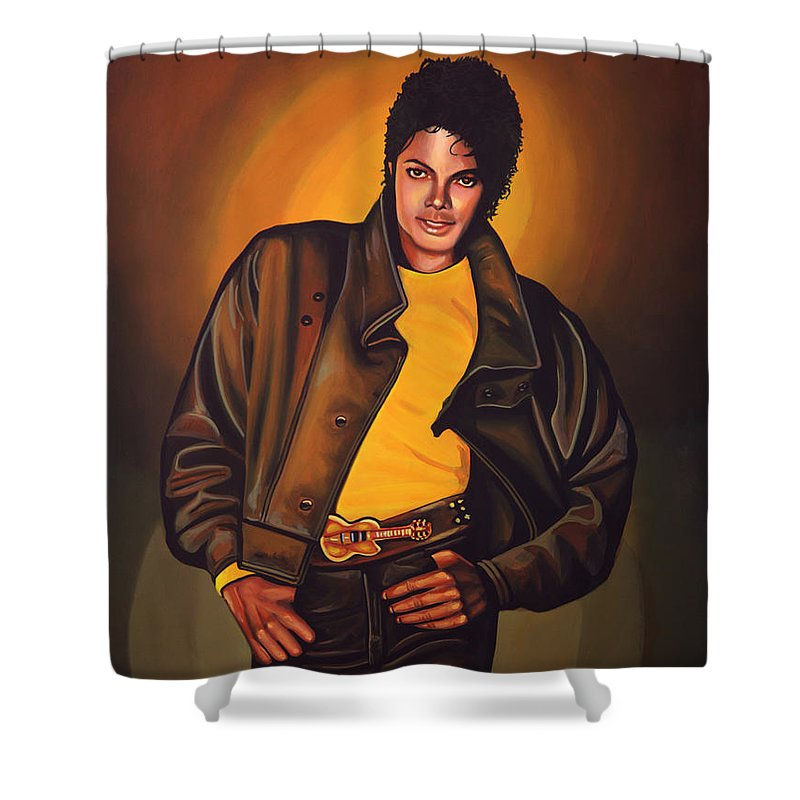 Michael Jackson Shower Curtain featuring the painting Michael Jackson by Paul Meijering