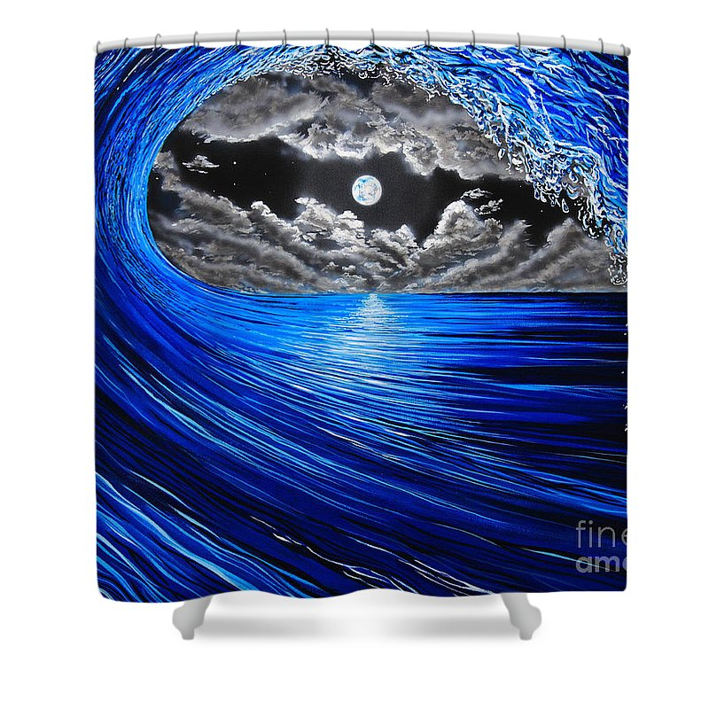 Moon Shower Curtain featuring the painting Midnight Bowling by Marty Calabrese