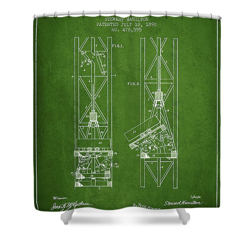 Mine Shower Curtain featuring the digital art Mine Elevator Patent From 1892 - Green by Aged Pixel