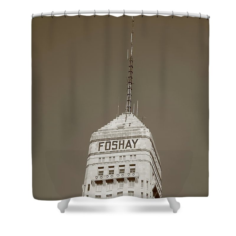 America Shower Curtain featuring the photograph Minneapolis Tower by Frank Romeo