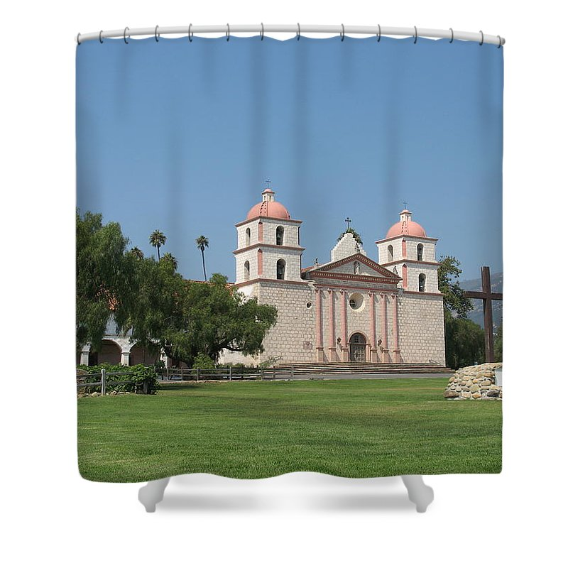Mission Shower Curtain featuring the photograph Mission Santa Barbara by Christiane Schulze Art And Photography
