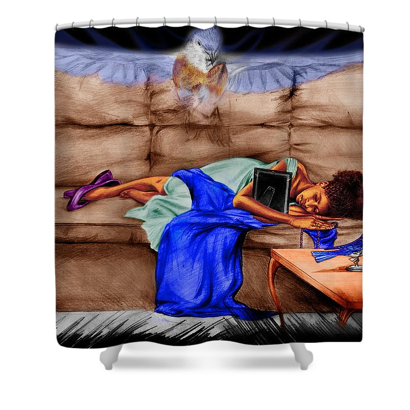 Singer Shower Curtain featuring the drawing Mommie's Baby by Terri Meredith