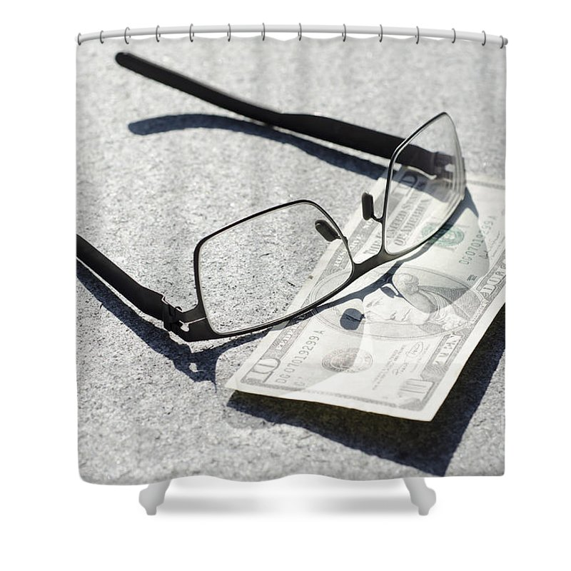 Money Shower Curtain featuring the photograph Money And Eyeglasses by Mats Silvan