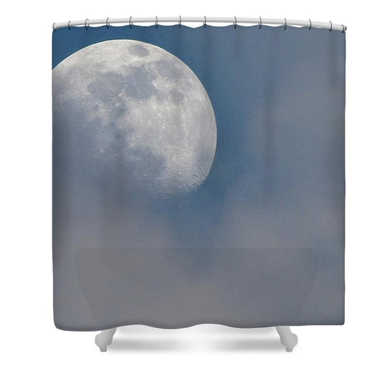 Moon Shower Curtain featuring the photograph Moon Mist by Shannon Story