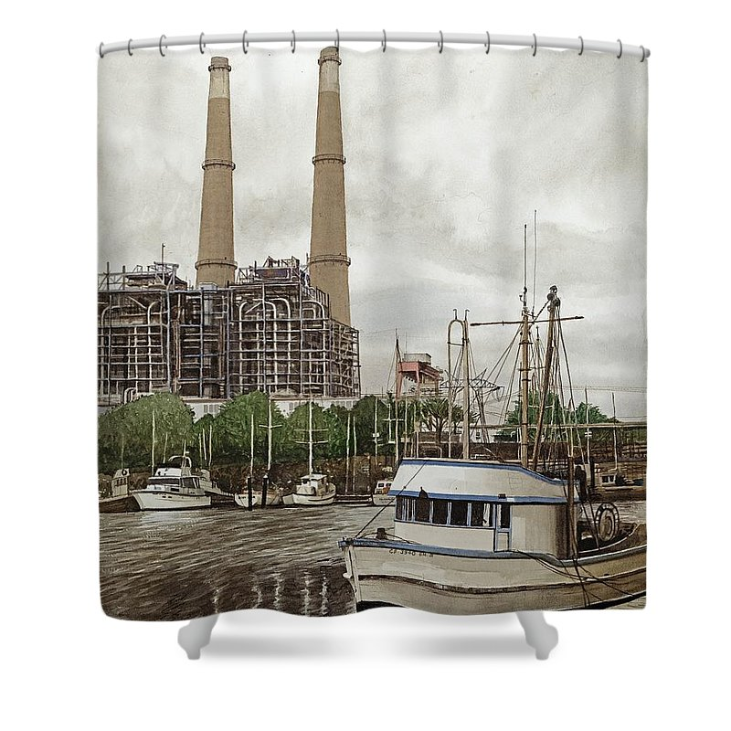 Harbor Shower Curtain featuring the painting Moss Landing by James Robertson