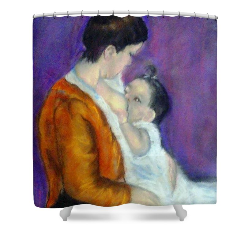 Portrait Of Mother And Baby Shower Curtain featuring the painting Mother And Baby by Fineartist Ellen