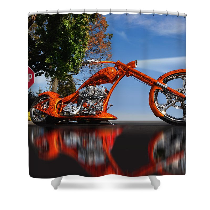 Custom Motorcycle Shower Curtain featuring the photograph Motorcycle Reflections by Joseph LaPlaca