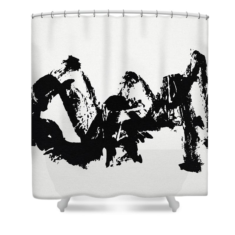 Mountain Shower Curtain featuring the painting Mountain Avant-garde Calligraphy by Ponte Ryuurui
