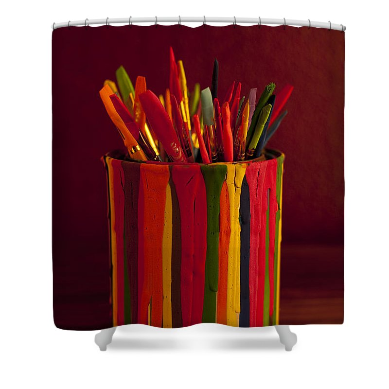 Art Shower Curtain featuring the photograph Multi Colored Paint Brushes by Jim Corwin