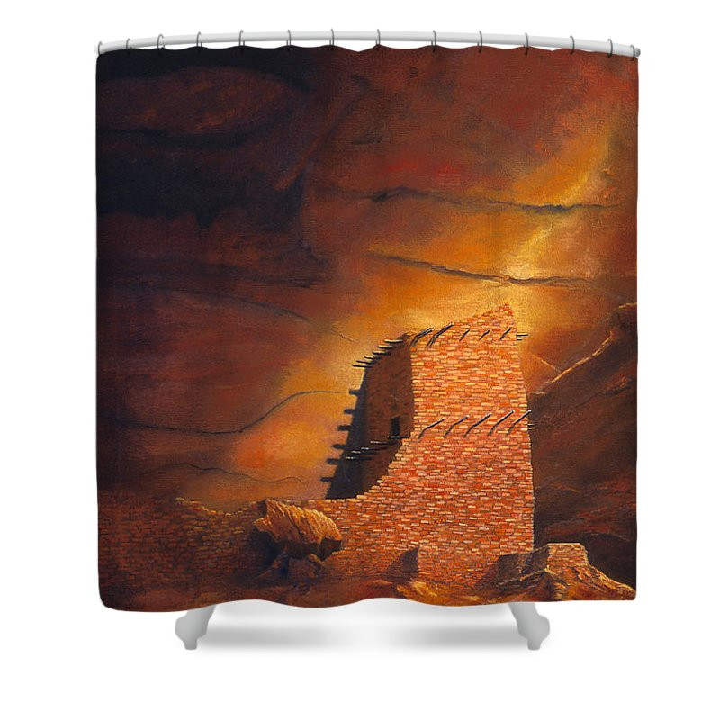Mummy Cave Ruins Shower Curtain featuring the painting Mummy Cave Ruins by Jerry McElroy