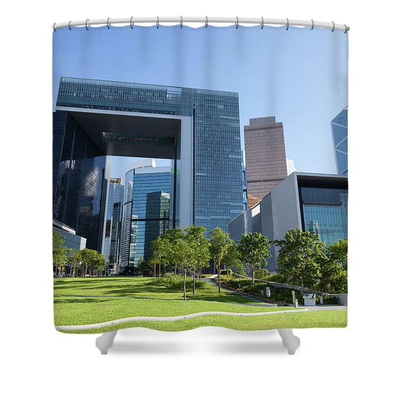 Chinese Culture Shower Curtain featuring the photograph New Central Government Complex by Winhorse