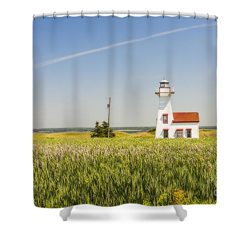 Lighthouse Shower Curtain featuring the photograph New London Range Rear Lighthouse by Elena Elisseeva