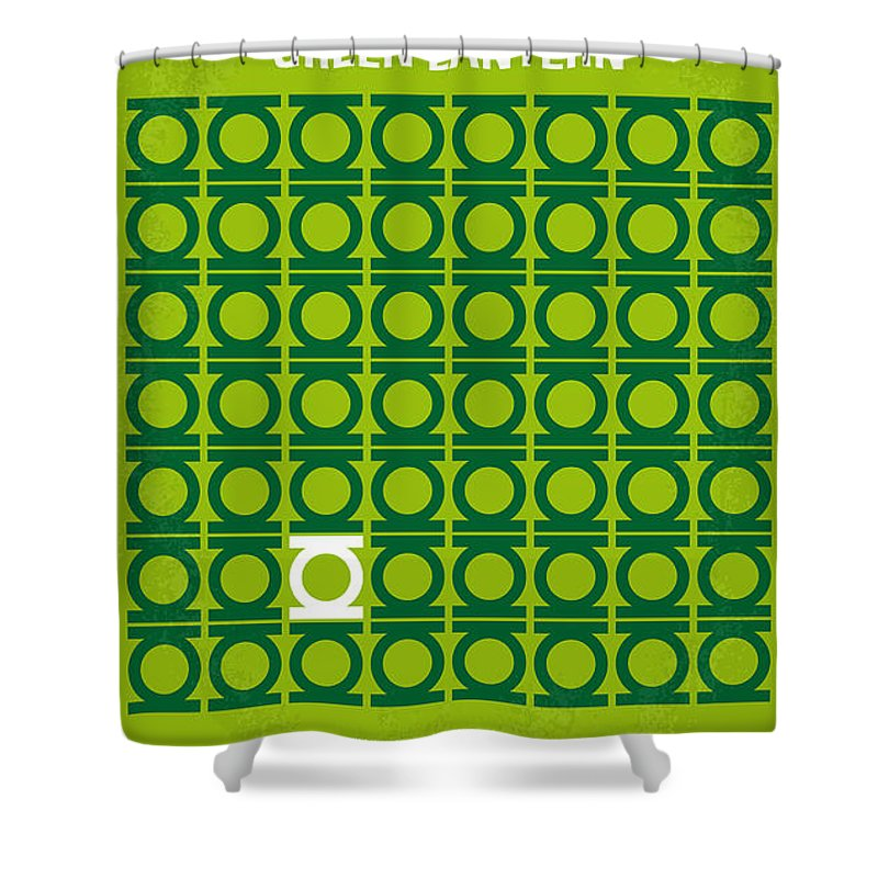 Green Shower Curtain featuring the digital art No120 My Green Lantern Minimal Movie Poster by Chungkong Art
