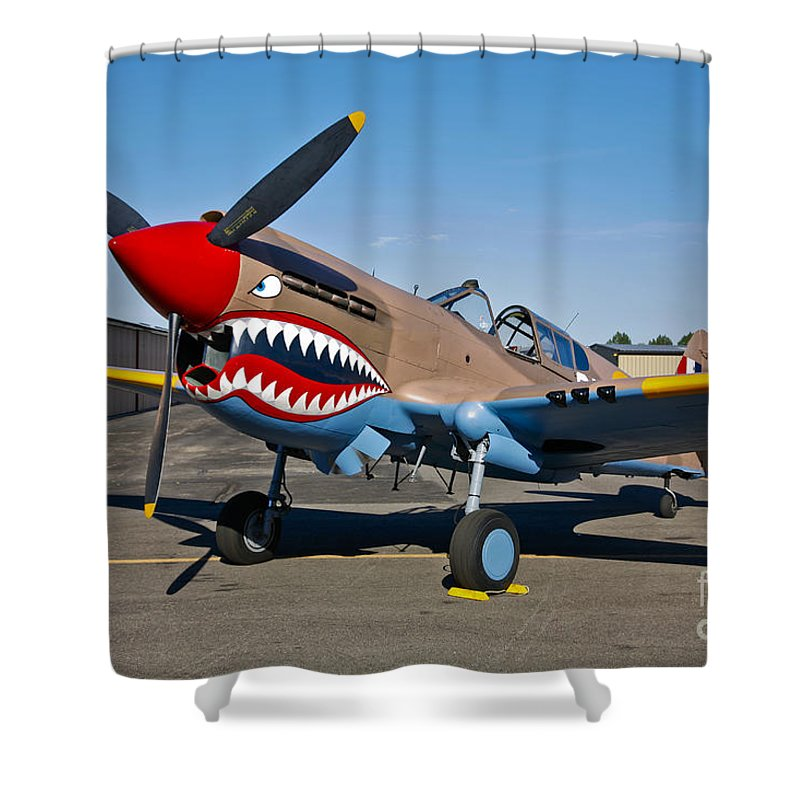 Horizontal Shower Curtain featuring the photograph Nose Art On A Curtiss P-40e Warhawk by Scott Germain