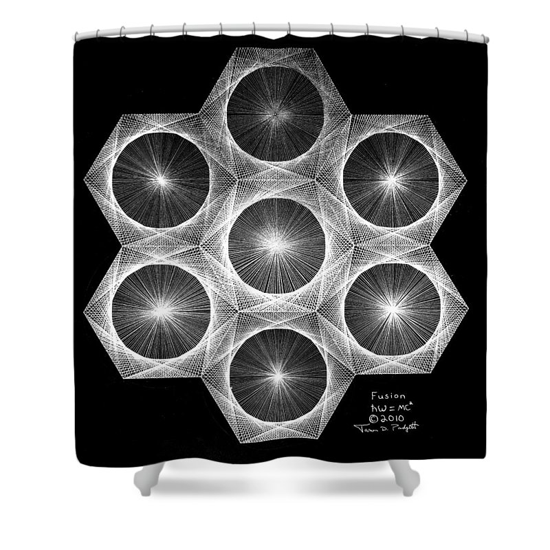 Fractal Shower Curtain featuring the drawing Nuclear Fusion by Jason Padgett