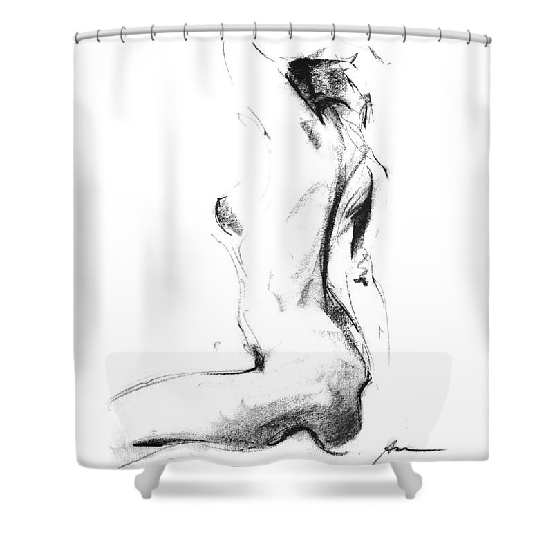 Nude Shower Curtain featuring the drawing Nude 006 by Ani Gallery