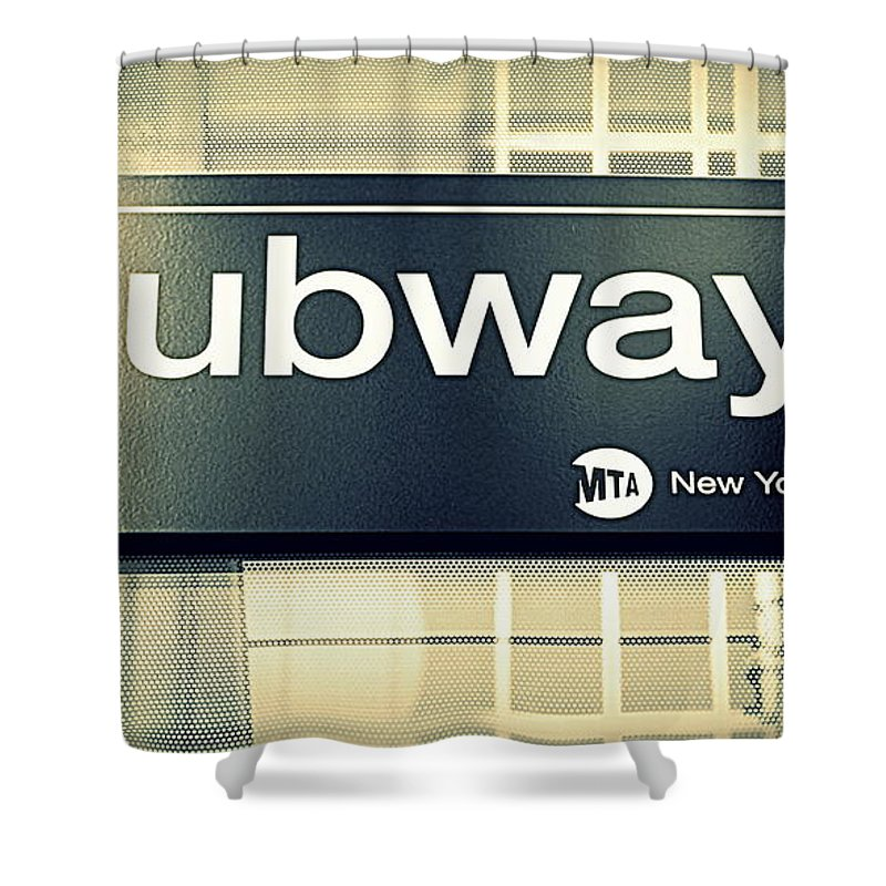 Billboard Shower Curtain featuring the photograph Nyc Subway Sign by Valentino Visentini