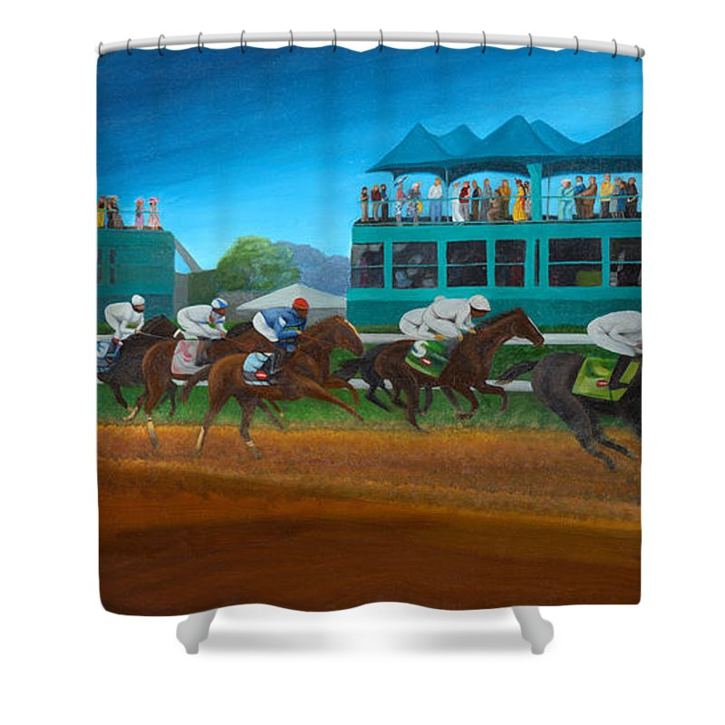 Horse Shower Curtain featuring the painting Odds Are Not by Sherryl Lapping