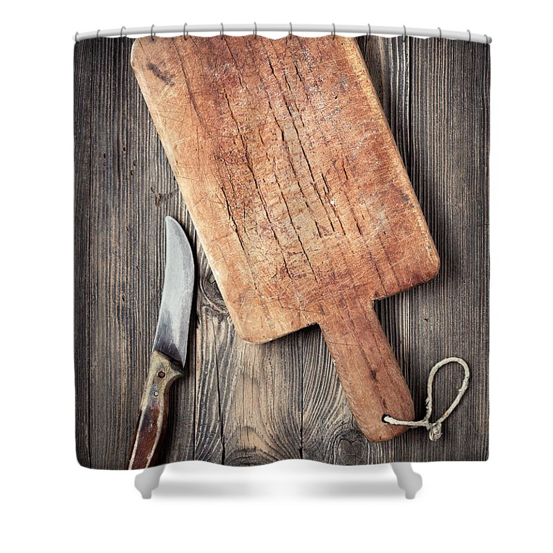 Empty Shower Curtain featuring the photograph Old Cutting Board And Knife by Barcin